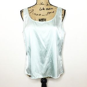 St. John Aqua Blue Silk Tank Top Blouse